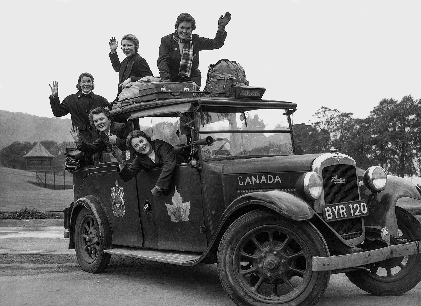 Women in London Taxi in 1956