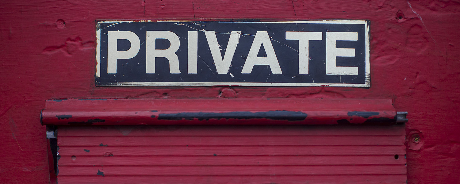 Private sign above a mailbox