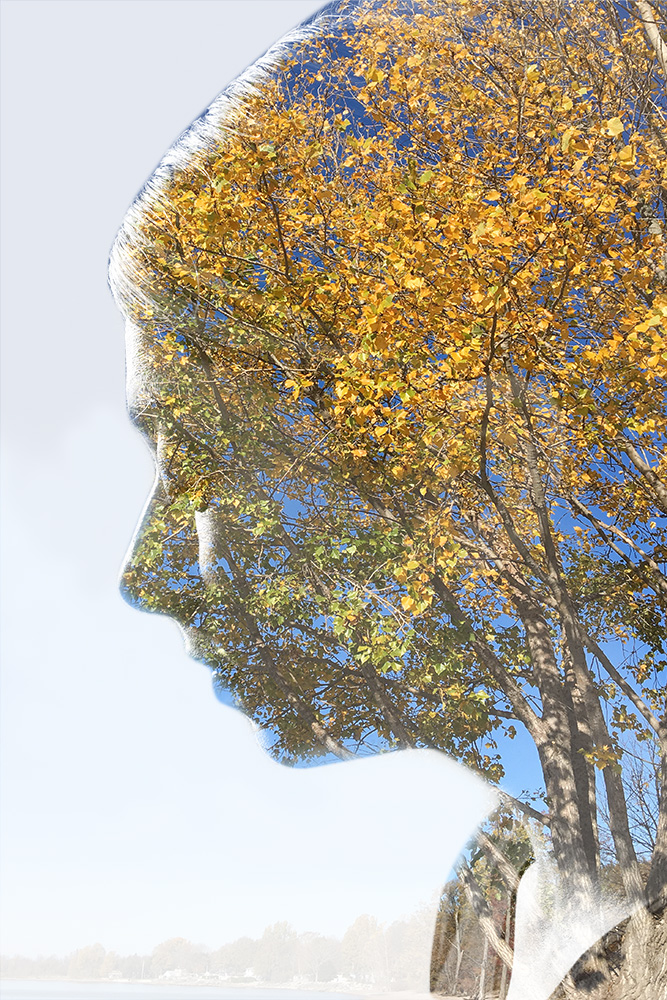 double exposure of woman and tree