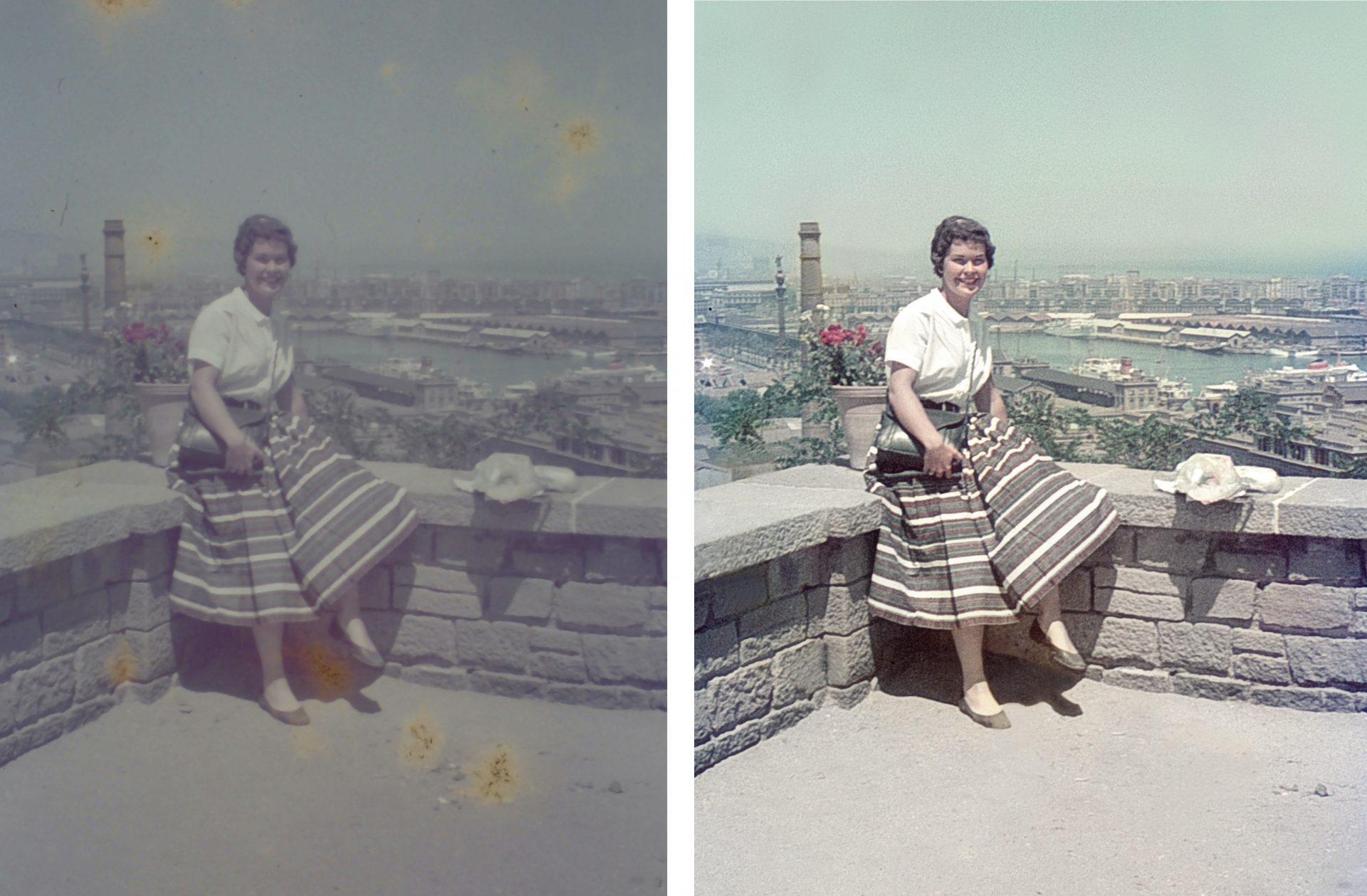 before and after image damaged by time