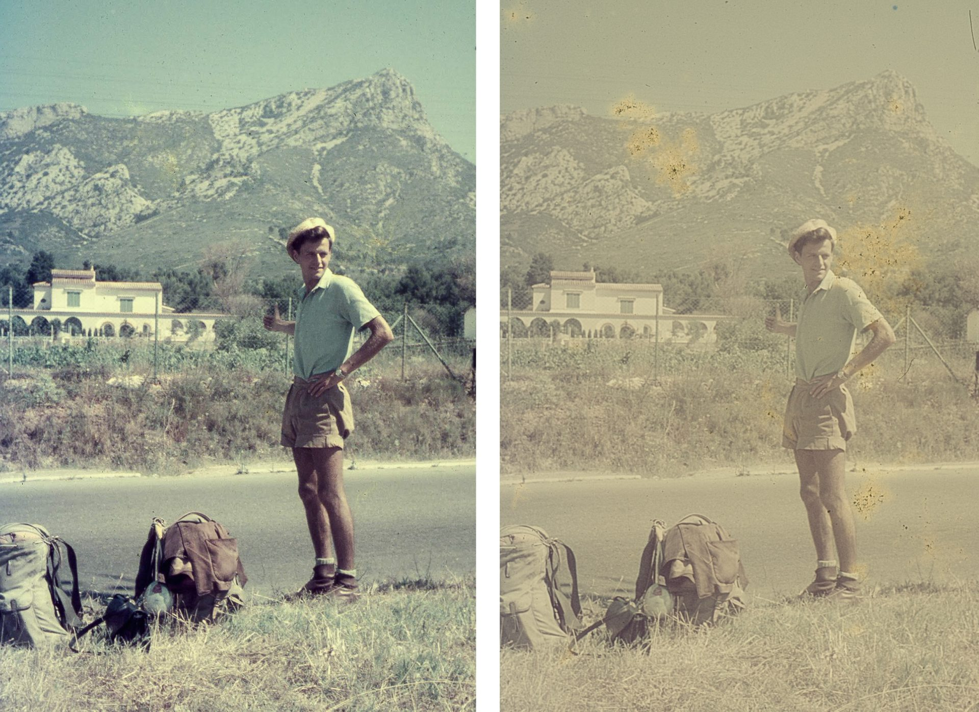 2 versions of same image of man hitchhiking