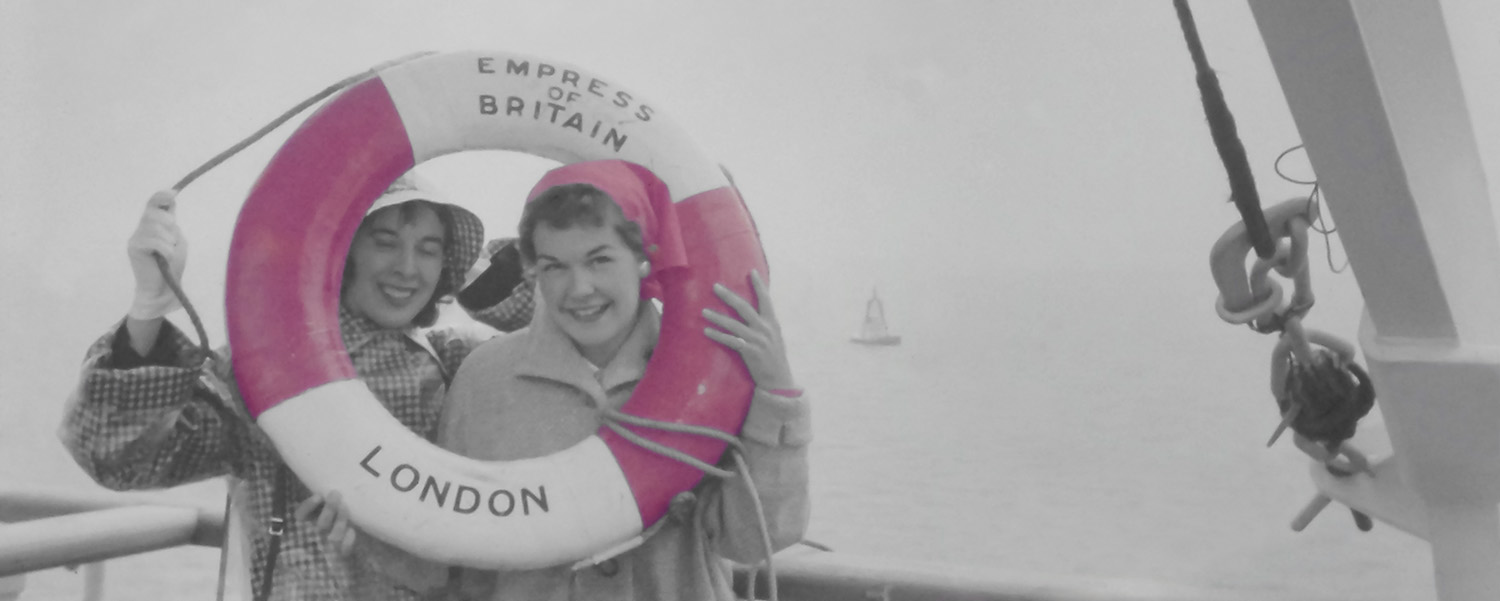 women on boat to england